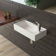 Keramik Waschbecken Weiß Handwaschbecken Eckig Gäste Waschtisch Badezimmer