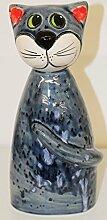 Keramik-Zaunsitzer, Katze 3-sort. schwarz blau od.
