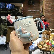 Keramikbecher, Kaffeetasse 350 ml Löffel mit