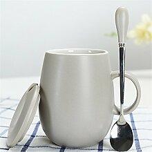 Keramikbecher mit deckel Löffel Marke Tasse Student Büro wasser Tasse kaffeetasse paar tasse milch Tasse 11,3 * 12 cm Grau