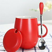 Keramikbecher mit deckel Löffel Marke Tasse Student Office wasser Tasse kaffeetasse paar tasse milch Tasse 11,3 * 12 cm Ro