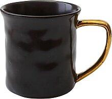 Keramikbecher Mit Goldenem Griff Kurzer Kaffee Tee