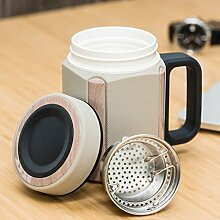 Keramikbecher mit großer Kapazität weißes Herrenporzellan Büro mit Wasserbecher Filterbecher mit Deckelbecher ( Color : Weiß )