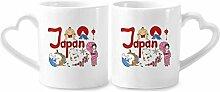 Keramikbecher mit japanischem National-Symbol, mit