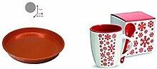 Keramikbecher mit Löffel mit Tablett metallic orange