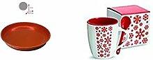Keramikbecher mit Löffel mit Tablett metallic