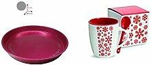 Keramikbecher mit Löffel mit Tablett metallic pink