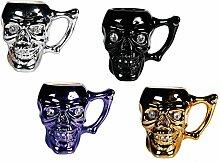 Keramikbecher mit Totenkopf und Kristallsteinen