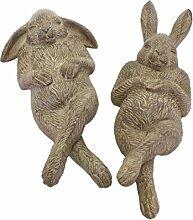 Keramikhase BERT - 2er Set - 20 cm - Osterhase liegend - Grau - Gartendeko - Figur