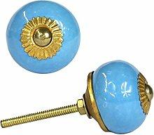 Keramikknauf rund Hellblau Blau Möbelgriff Griff Knauf Knopf Messing Keramik R3