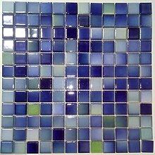 Keramikmosaik Fliesen blau melange matt glasiert