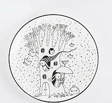 Keramikplatte 8 Zoll handbemalte Unterglasur Color