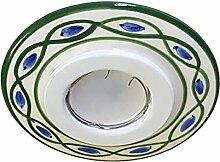 Keramikstrahler grün und blau verziert und