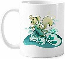 Keramiktasse mit weißem Pferd, Mythologie, für