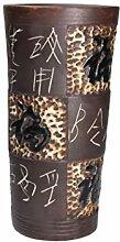 Keramikvase mit asiatischen Schriftzeichen Braun
