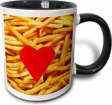 Keramische Kaffeetasse, Tasse Ich liebe Pommes