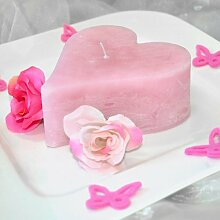 Kerze Herz / Herzkerze durchgefärbt Pearl Pink