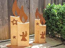 Kerze Johann aus Holz und Edelrost, 2 Größen
