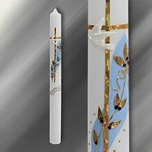 Kerze Taufkerze Kommunionkerze blau Gold C105/N