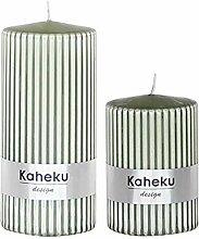Kerzen-Set Rillenkerzen Stumpen-Kerzen Oliv-grün