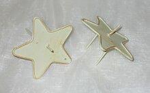 Kerzenhalter 'Stern' aus Metall creme