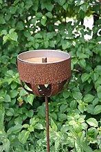 Kerzenhalter 82cm Rost Deko Outdoor-Kerzen Gartendeko Topfhalter Stab Edelrost Beetstecker