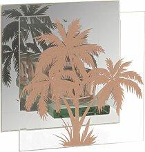Kerzenhalter aus Glas, bedruckt mit goldenen Palmen