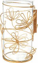 Kerzenhalter aus Glas mit goldfarbenem Blumenmuster