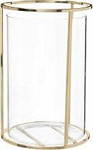 Kerzenhalter aus Glas und goldfarbenem Metall H21