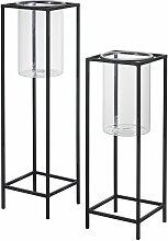 Kerzenhalter aus Glas und schwarzem Metall (x2)