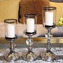 Kerzenhalter,Metall kerzenhalter Glas klar Moderne wohnkultur Wohnzimmer-tisch-dekoration-A
