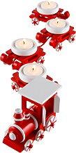 Kerzenhalter Weihnachtszug (5-tlg. Set), rot
