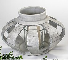 Kerzenhalter, Windlicht KORB, Glas & Keramik grau D. 27cm H. 21cm Formano (29,90 EUR / Stück)