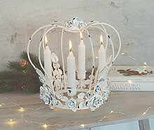 Kerzenkranz aus Metall, Krone im antique Shabby