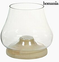 Kerzenschale Glas Holz - Pure Crystal Deco