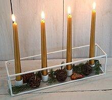 Kerzenschale Kerzenständer Kerzenhalter Kerzentablett 4er weiss Metall gross für Stabkerzen