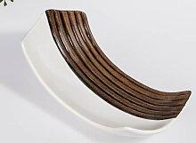 Kerzenschale, Teller WOOD L. 23cm Holzoptik braun weiß Keramik Formano (14,90 EUR / Stück)