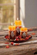Kerzenset Herbstlaub Afrika Design 3 Kerzen Kerzenteller Dekoration Herbst NEU