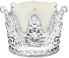 Kerzenständer aus Glas mit Krone.
