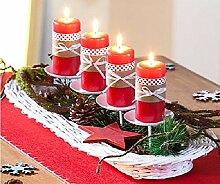 Kerzentablett Adventskranz Kerzenteller Dekorationsschale Rattan weiß NEU
