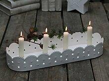 Kerzentablett Adventstablett Kerzenständer Adventskranz Sterne Metall weiß