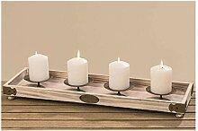 Kerzentablett Holz - L 53cm, Adventsleuchter,