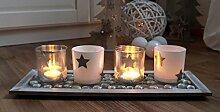Kerzentablett mit 4 x Glas Windlicht Advent Kerzenständer Kerzenleuchter Adventsleuchter STERN BO (2)