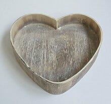 Kerzentablett mit Rand Holz hell meliert 'natural wash' Herzform 20 cm