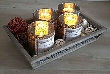Kerzentablett Set Adventsgesteck 4er braun gross Glas im antik Design