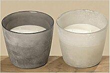 Kerzentopf 2sort H11 D13cm grau Materialmix Material: Glas+Wachs