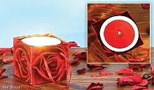 Kerzentopf Rote Rose mit Papiertüte Rosenduft 1