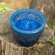 Kerzentopf / Windlicht 'Marineblau' - 25 Stunden Brenndauer