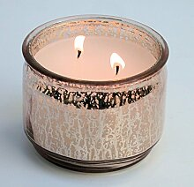 Kerzentopf Windlicht, Glas rosé/silber, mit