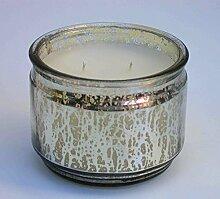 Kerzentopf Windlicht, Glas silber, mit weißem